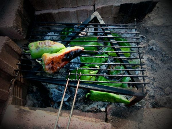 Paprika über Kohle grillen